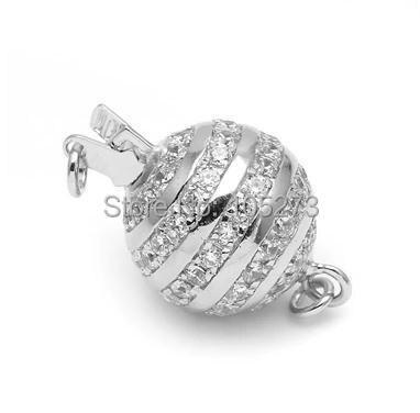 Avec fermoir boule en zirconium, collier 12mm 925 argent bricolage en cristal de perle naturelle de haute qualité, fermoir bracelet. -L59C - 3