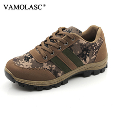VAMOLASC New Men Outdoor Waterproof Canvas Hiking Shoes Anti-Slip Breathable Mountain Walking Trekking Boots