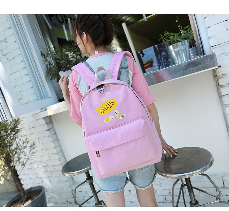 Stylish Canvas Cartoon Printing Backpack Women School Bags For Teenage Girls Cute Bookbag Laptop Backpacks Female