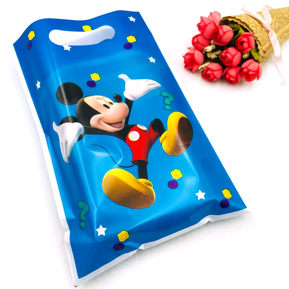 10pcs/set Mickey Mouse Boys Kids Party Supplies Gift Bag Candy/Loot Bag Party Birthday Decoration Party Supplies