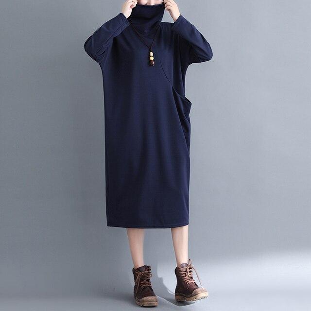7c786fcaf Mulheres gola alta Plus Size Vestido de Malha 2018 Outono Inverno Coreano  Moda Manga Comprida Projeto do Bolso Do Vintage Longo Espessura