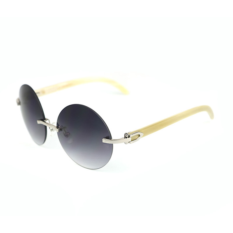 Luxury Wood Sunglasses Men Carter Buffalo Horn Round Sun Glasses Mens Brand Designer Eyewear Goggles Fashion Oculos Shades 012R
