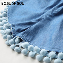 Bosudhsou Tassel Shorts Bottom Girls Jean Summer Fashion Teenagers 2017 New Solid Toddler Kids Casual Denim Shorts