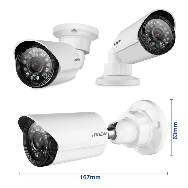 H. VIEW 4ch CCTV Surveillance Kit 4 Telecamere Di Sorveglianza Esterna Kit  Videocamera Di Sicurezza Di IR Sistema Di Videosorveglianza DVR Kit