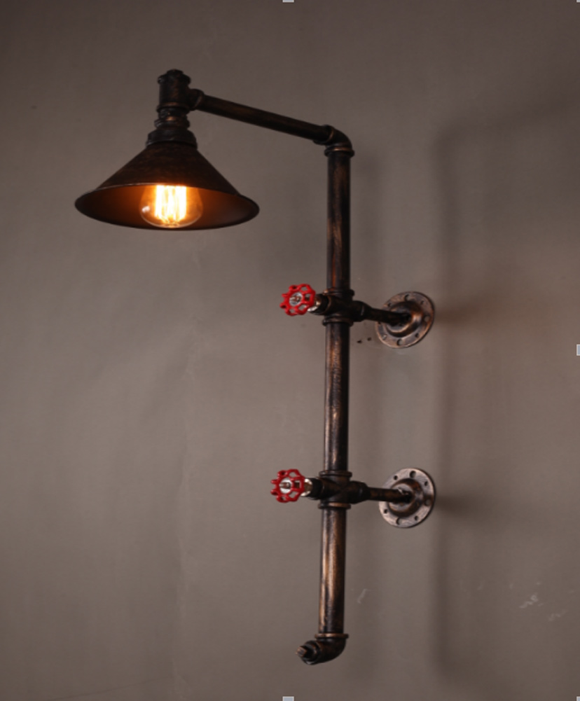 Loft Wrought Iron Industrial Water Pipe Vintage Retro Wall Lamp Sconce Creative Beside Lamps E27 Edison Home Light Fixture vintage wrought iron industrial wall lamp bedroom outdoor wall sconce mounted beside reading light for home decoration