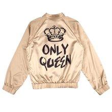 "Women Fashion Baseball Bomber Jacket Girls Printed ""Only Queen"" Glossy Souvenir Jacket Outwear"