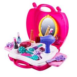 Maquiagem caso saco de cosméticos carry caso fingir jogar brinquedos secador de cabelo presente conjunto meninas brinquedos das crianças das meninas dos miúdos simulação móveis