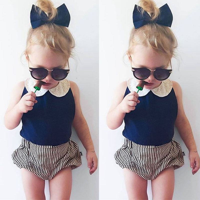 Toddler Kids Baby Girls Clothes Sets 2pcs Summer Beach Outfits Clothes T-shirt Tops + Shorts Striped 2PCS Set Girl Clothing baby kids baseball season clothes baby girls love baseball clothing girls summer boutique baseball outfits with accessories