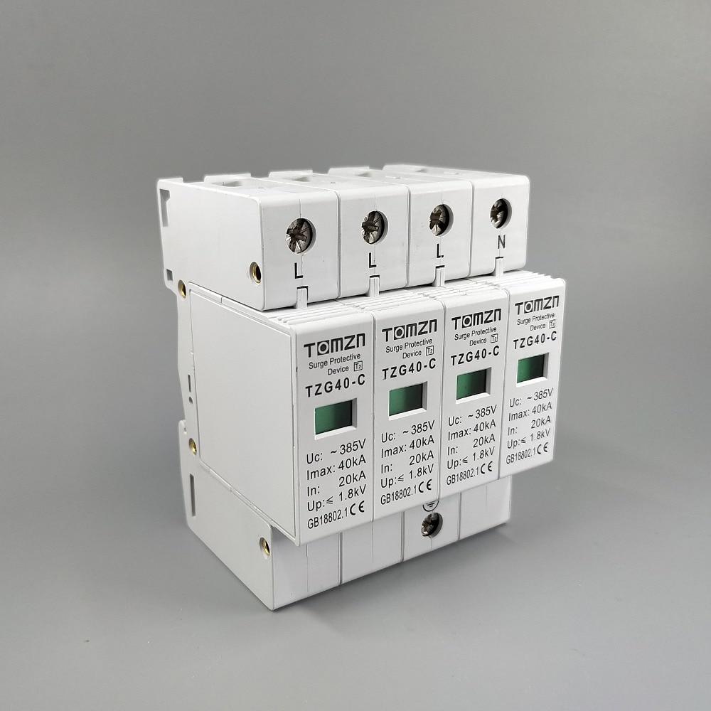 AC SPD 3P+N 20KA~40KA  C ~385V  House Surge Protector Protection Protective Low-voltage  Arrester Device