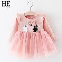 ON Hello Cieszyć Baby Girl Sukienki Partii I Wesele Nowa Wiosna Cartoon Królik Łuk Netto Przędzy Księżniczka 1 rok urodziny Sukienka Ubranie