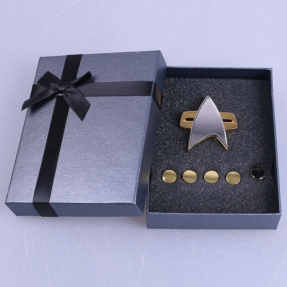 Star Trek Badge Voyager Communicator Next Generation Metal Badges Pin&Rank Pip/Pips 6 pcs Set Cosplay Prop
