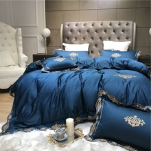 New Gold Luxury Embroidery 60S Egyptian cotton Bedding Set Blue White Pink Red Green Duvet Cover Bed sheet Linen Pillowcases