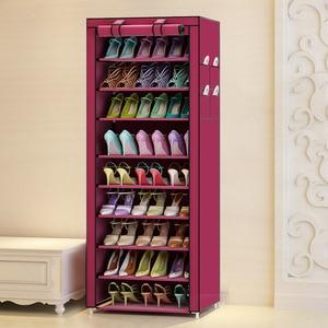 Image 5 - 9 Tier Modern Shoe Shelves Oxford Cloth Shoe Stool Storage Cabinet Multi purpose Shoes Rack DIY Shoes Organizer Case Space Saver