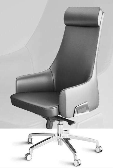 Simple modern leather boss chair cow leather big class chair solid wood office chair home lift computer chair.