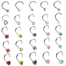BOG-1PC 20G Steel Nose Rings CZ Opal Piercing Nose Screw Curved Prong Nose Stud Rings Nariz Earrings Nostril Piercing Jewelry(China)