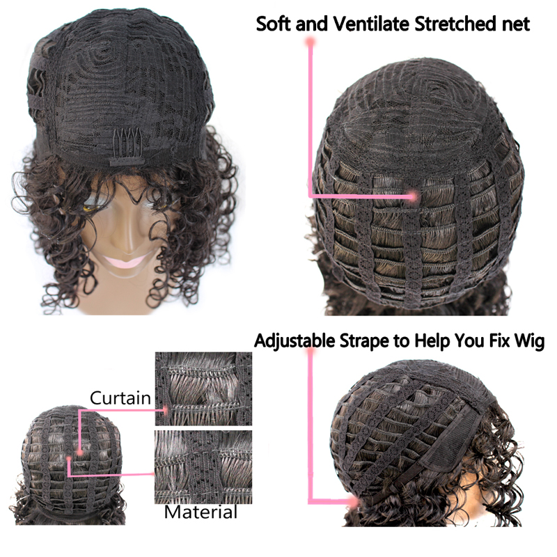 """Image 5 - LISI HAIR 18"""" Medium brown color heat resistant synthetic hair wigs for black woman African hairstyle short curly wigSynthetic None-Lace  Wigs   -"""