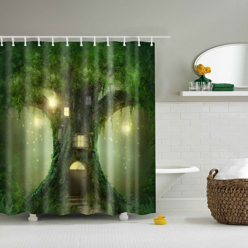 3d Trees Forest Shower Curtain Green Cortina Ducha Waterproof Bath Curtains For Bathroom In