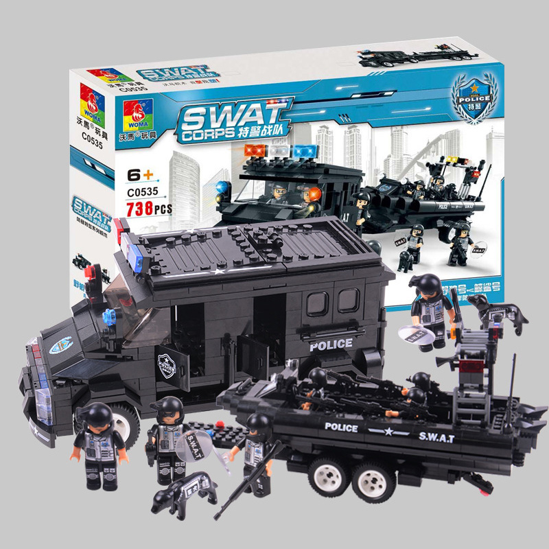738pcs City Police Series Boat Car Figures Building Blocks Bricks Enlighten Educational Building Blocks Bricks Toys for Children city series police car motorcycle building blocks policeman models toys for children boy gifts compatible with legoeinglys 26014