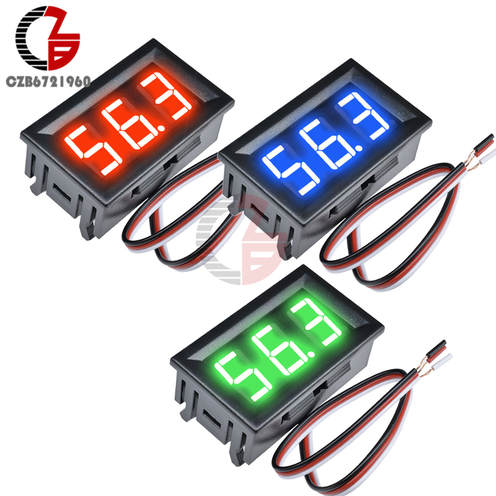 0.56 Inch LED DC Digital Voltmeter Voltage Meter 3 Bit 3 Wire DC 4.5V-28V Motrocycle Car Volt Battery Capacity Tester 5V 12V 24V
