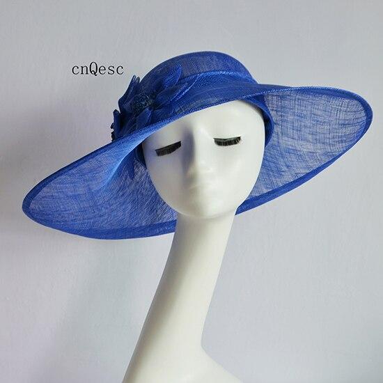2019 bleu Royal sinamay fascinator chapeau Kentucky Derby courses de mariage douche de mariée mère de la mariée