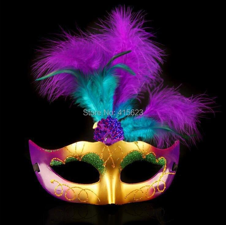 Vestido de lujo gillter mullido pluma máscara chrismas de Halloween ...