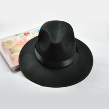 Vintage Women Wide Brim Ribbon Wool Blend Felt hair cap Hat Styling Tools D0451(China)