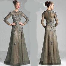 Fabrik Freies anpassen Großformat langen Ärmeln Mutter der Braut Kleid mit Jewel muslimischen Spitze eine Linie formale Abendkleider 2016