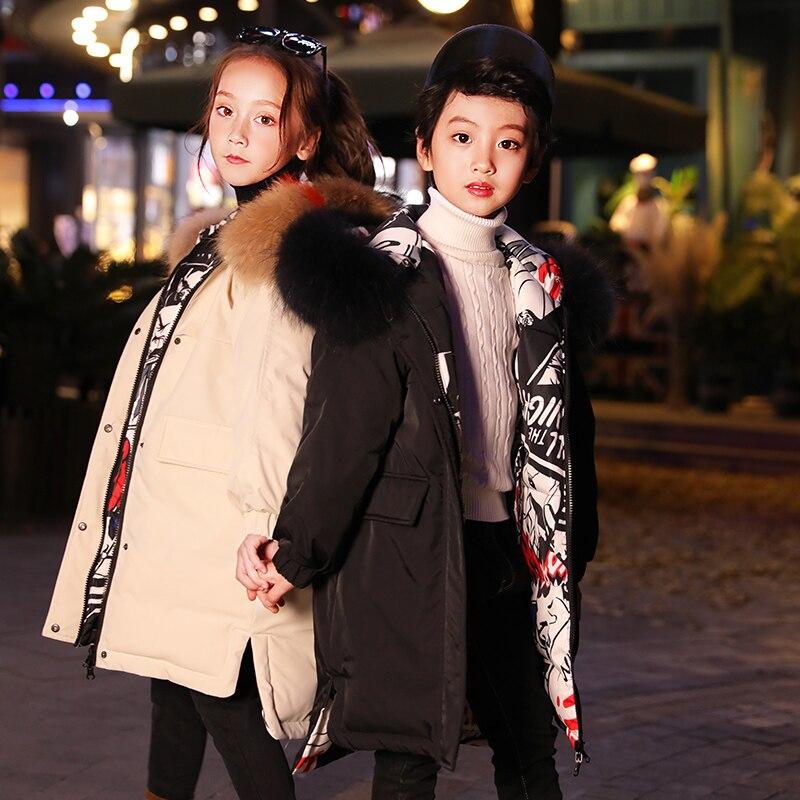 HSSCZL/куртки пуховики на утином пуху для девочек коллекция 2019 года, зимнее плотное пальто Верхняя одежда для детей с капюшоном для крупных девочек пальто, детская одежда, для детей возрастом от 6 до 14 лет