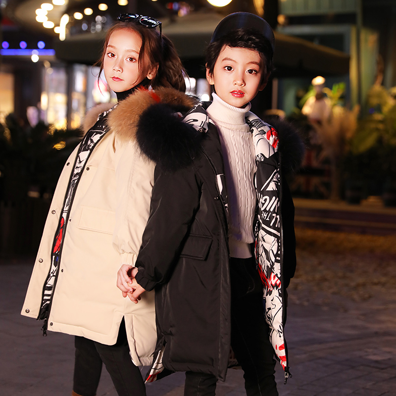 HSSCZL meisjes duck down jassen 2019 winter dikker jas grote meisje hooded natuurlijke kinderen bovenkleding jas kinderkleding 6 14