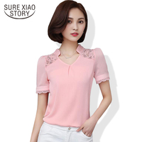 2017 New Summer Women lace shirt Fashion short sleeve chiffon blouse Plus size ladies casual blouse Tops 707f 25