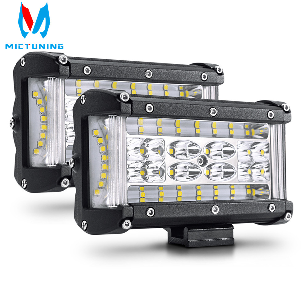 10PCS 5 inch 72W LED Light Bar Spot Flood Combo Work Light Pods Offroad Driving Fog