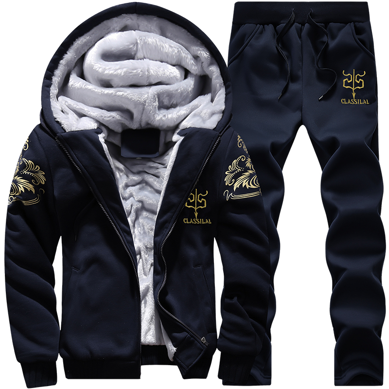 FGKKS Men Casual Tracksuit Set Winter Two Piece Sets All Polyester Inner Thicken Thick Hooded 2PC Jacket+Pants Sporting Suit Men