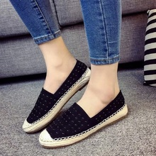 Free shipping straw fisherman flat canvas shoes slip large size flat shoes Loafers