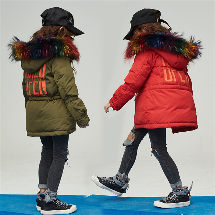 Girl 2017 new Korean long jacket winter for size 6 7 8 9 10 11 12 13 14 years child color fur collar coat casual outerwear baby boy and girl 2017 new korean thick down jacket winter for size 1 2 3 4 years child long coat kid tide casual outerwear