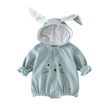 Baby Onesies Autumn And Winter New Hooded Robes Out Cartoon Clothes Cute Romper Cat Long Ears Pattern