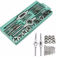 20pcs/set tap and die set M3~M12 Screw Thread Metric Plugs Taps & Tap wrench & Die Wrench Hand Screw Taps Hand Threading