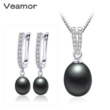 VEAMOR,, жемчужное ювелирное изделие, Милое Свадебное ожерелье, подвеска, серебро, 925, серьги-капли, для женщин, девушек, пирсинг с ювелирной коробкой