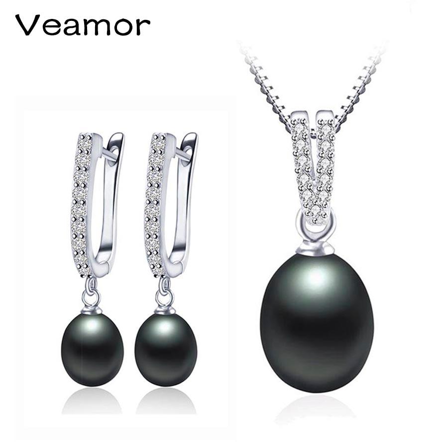 VEAMOR Hot Sale pérola jóias Casamento Lindo colar de pingente de prata 925 gota Earringsfor Mulheres Meninas Piercing com caixa de jóias