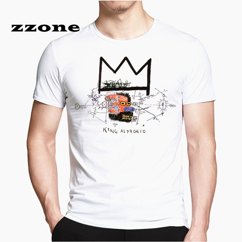 Men's Funny Printing Jean - Michel Basquiat   T  -  shirt   Unisex Summer Casual Harajuku   T     Shirt   HCP4552