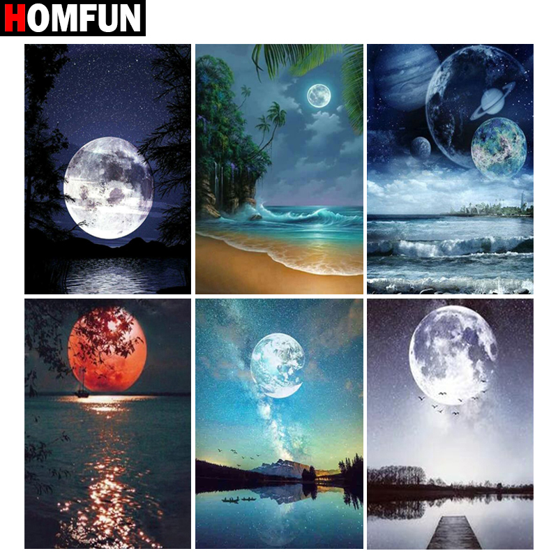 HOMFUN Full Square Round Drill 5D DIY Diamond Painting quot Moon scenery quot Embroidery Cross Stitch 5D Home Decor Gift in Diamond Painting Cross Stitch from Home amp Garden