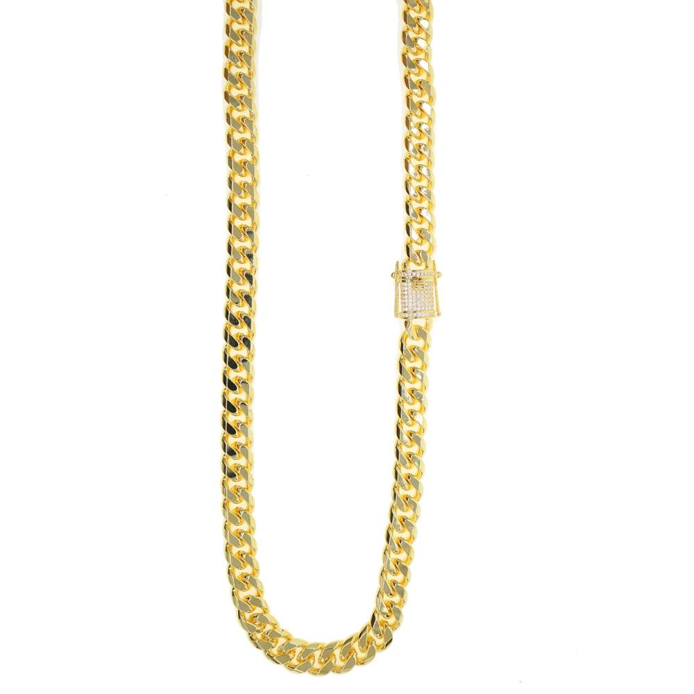 Mode or couleur 10.5mm large lien chaîne hip hop cool hommes bijoux micro pave cz cubain lien chaîne bracelet ensemble