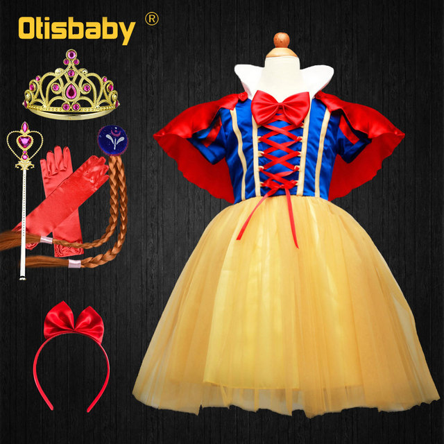 4PCS Children Girl Snow White Dress for Girls Prom Princess Dress Kids Baby Gifts Infants Party Clothes Fancy Teenger Clothing