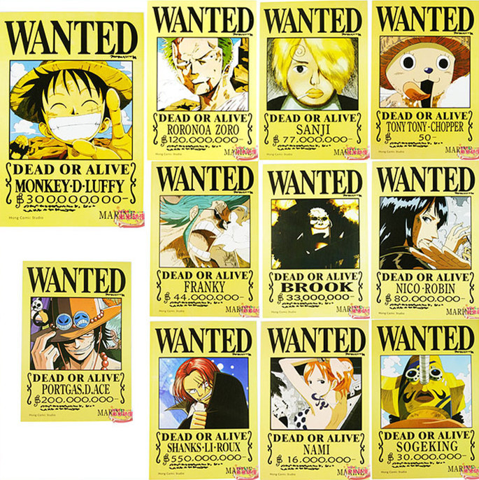 Wholesale 11(pcs) X New Anime ONE PIECE Wanted Poster