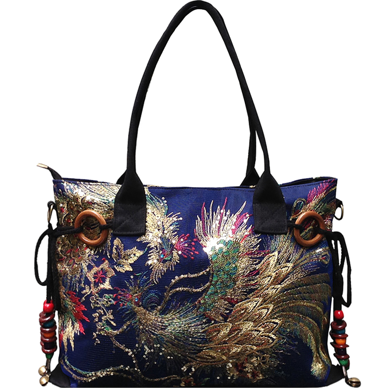 Famous Brand Designer Luxury Sequins Embroidery Phoenix Handbag Shiny Canvas Vintage Hand Bag Women High Capacity Shoulder Bag japanese pouch small hand carry green canvas heat preservation lunch box bag for men and women shopping mama bag