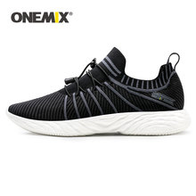 ONEMIX Men Retro Running Shoes 2019 Knitted Vamp Sneakers Light Breathable Men Vulcanized Shoes Outdoor Jogging Walking Trainers