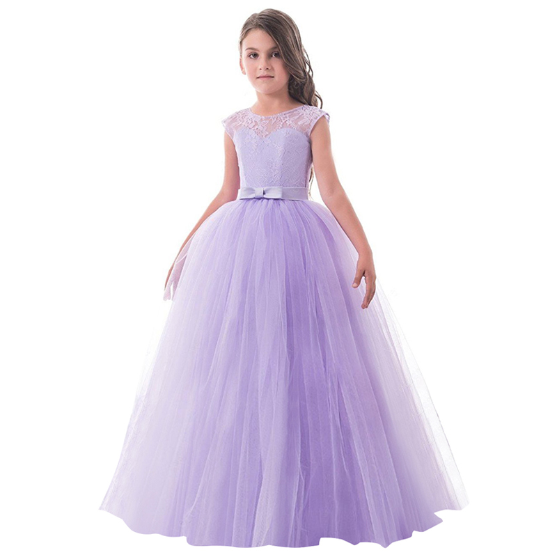 Teenage Girl Long Tulle Evening Party Prom Gown Princess Dress Flower Girl Wedding Party Dresses Children Clothes Kids Vestidos 5 16y teenage girls white long high waist flower princess wedding dress kid prom costume formal gown clothes for girl ceremony