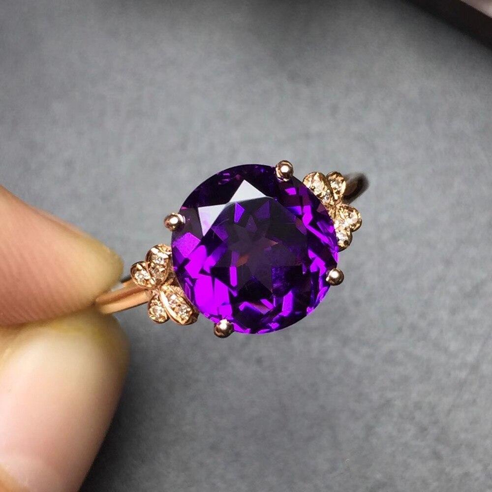 Image 2 - Ювелирные изделия Настоящее 18K золото AU750 100% натуральный аметистовый драгоченный камень женские кольца для женщинКольца    АлиЭкспресс