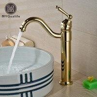 Luxury Brass Golden Single Hole Bathroom Sink Faucet High Quality