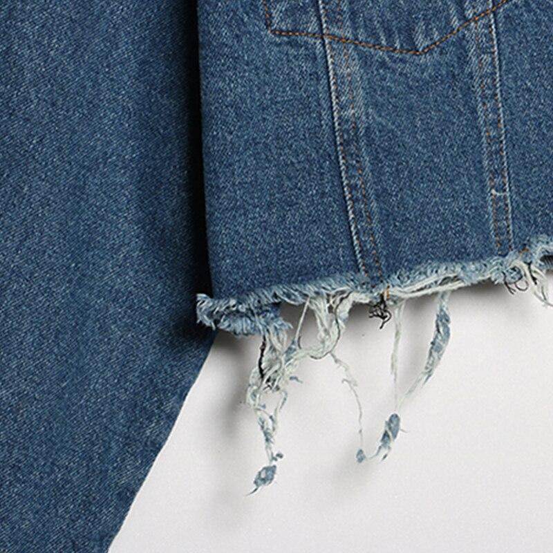 Blue Trou Dos Effilochée Mode Sexy Jeans Top Courtes Casual Rivet Femmes Punk Lâche Nu Printemps Évider Manteau Jq124 Automne Style IOwwqgxHp