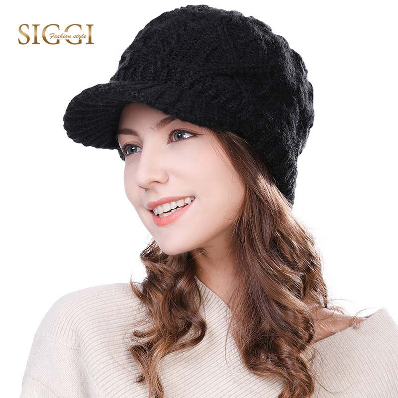 FANCET Women Wool Strikket Newsboy Cap Strikket Hat Visor Cabbie Duckbill Efterår Winter Girl Elastic Soft Fashion Gorros 68294